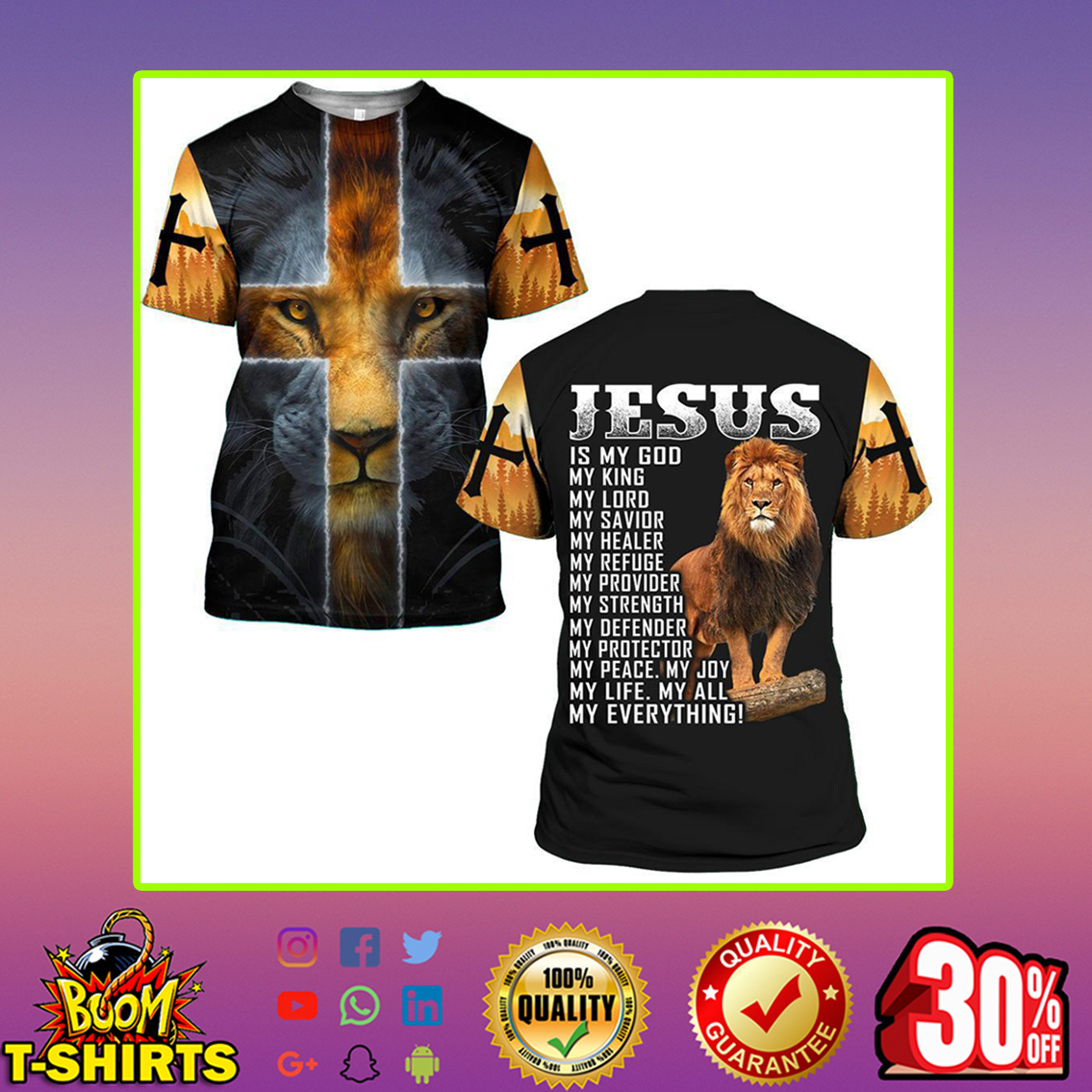 Lion Jesus is my god my everything 3d t-shirt - S