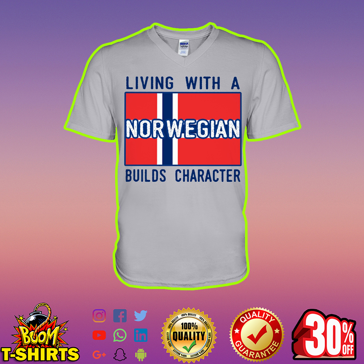 Living with a Norwegian builds character v-neck
