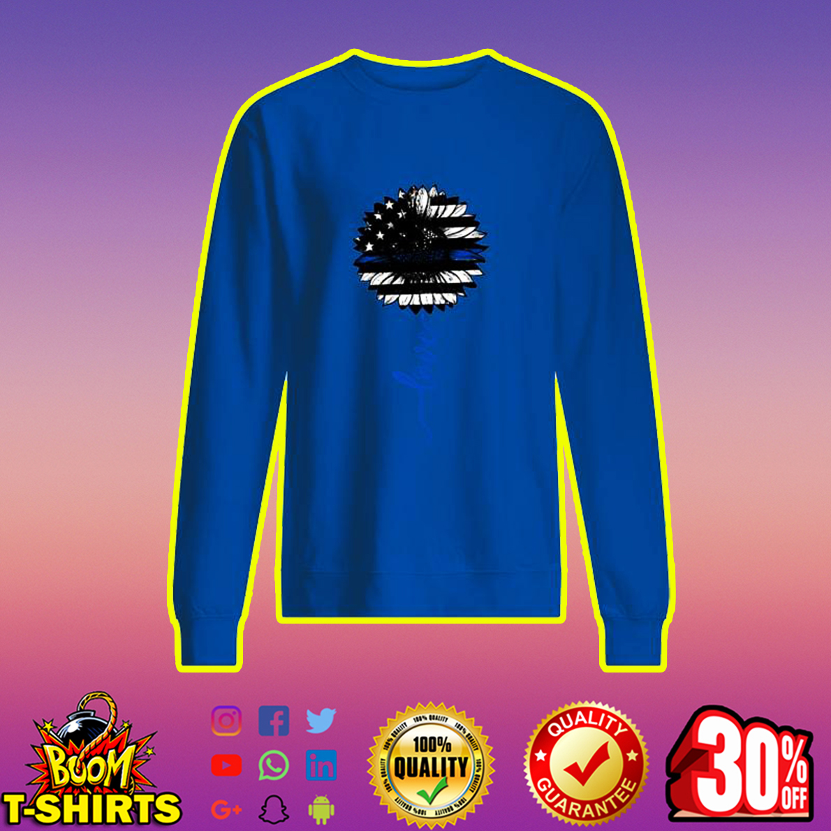 Love American Flag Sunflower sweatshirt