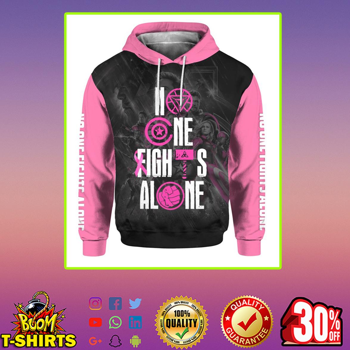 Marvel Avengers No one fights alone Breast cancer Pink Ribbon 3d hoodie-L
