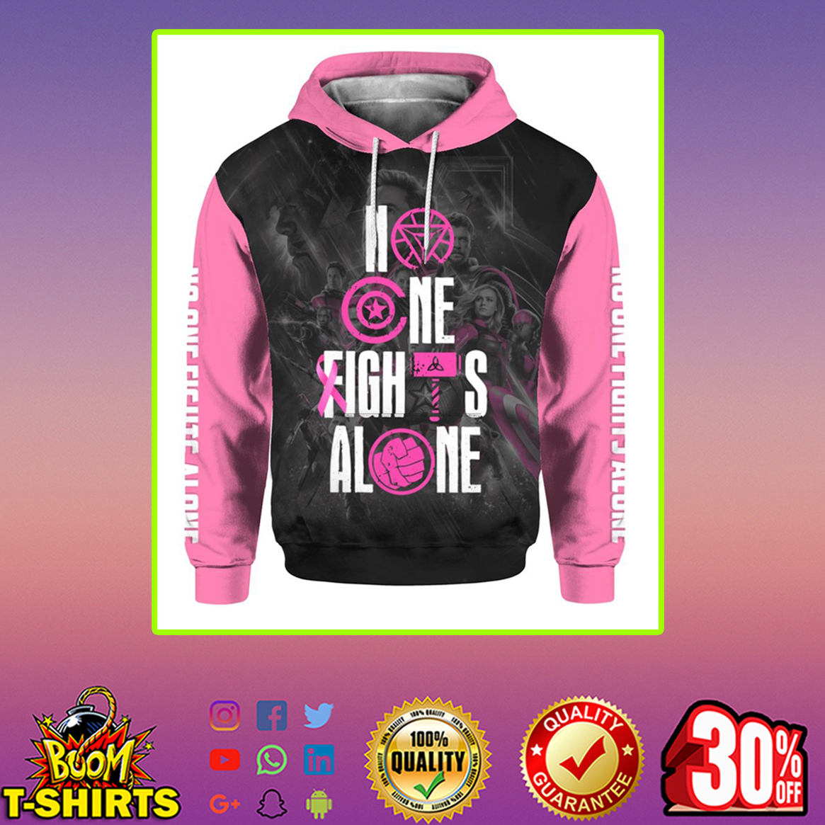Marvel Avengers No one fights alone Breast cancer Pink Ribbon 3d hoodie-M