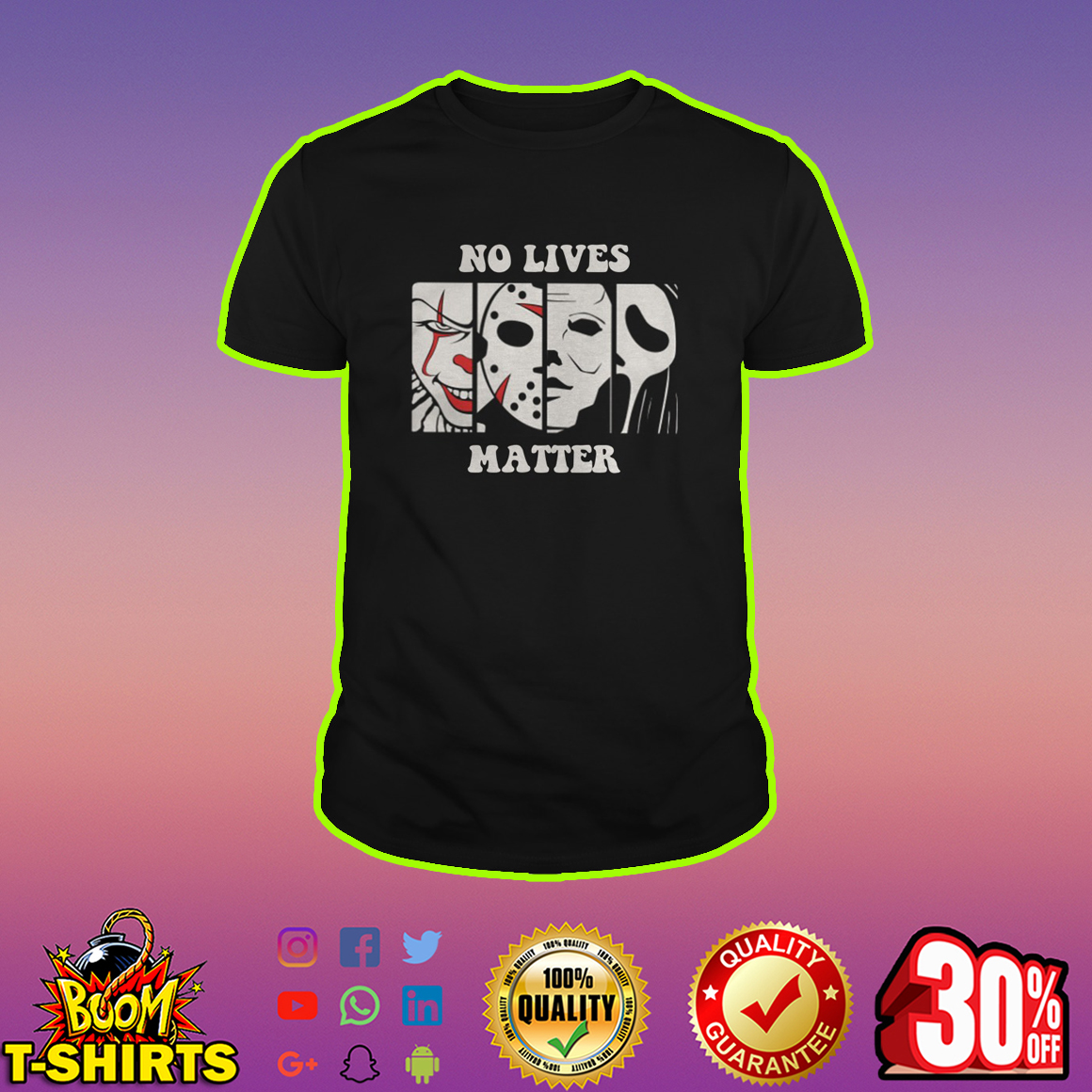 No lives matter Pennywise Jason Voorhees Michael Myers Ghostface Horror shirt