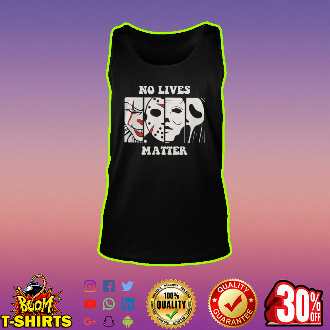 No lives matter Pennywise Jason Voorhees Michael Myers Ghostface Horror tank top