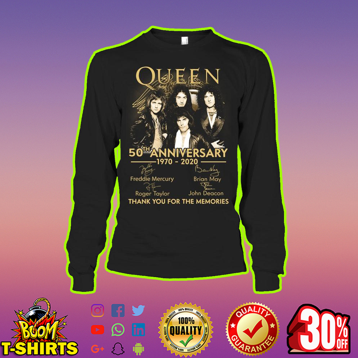 Queen 50th Anniversary 1970 2020 Thank You For The Memories longsleeve tee