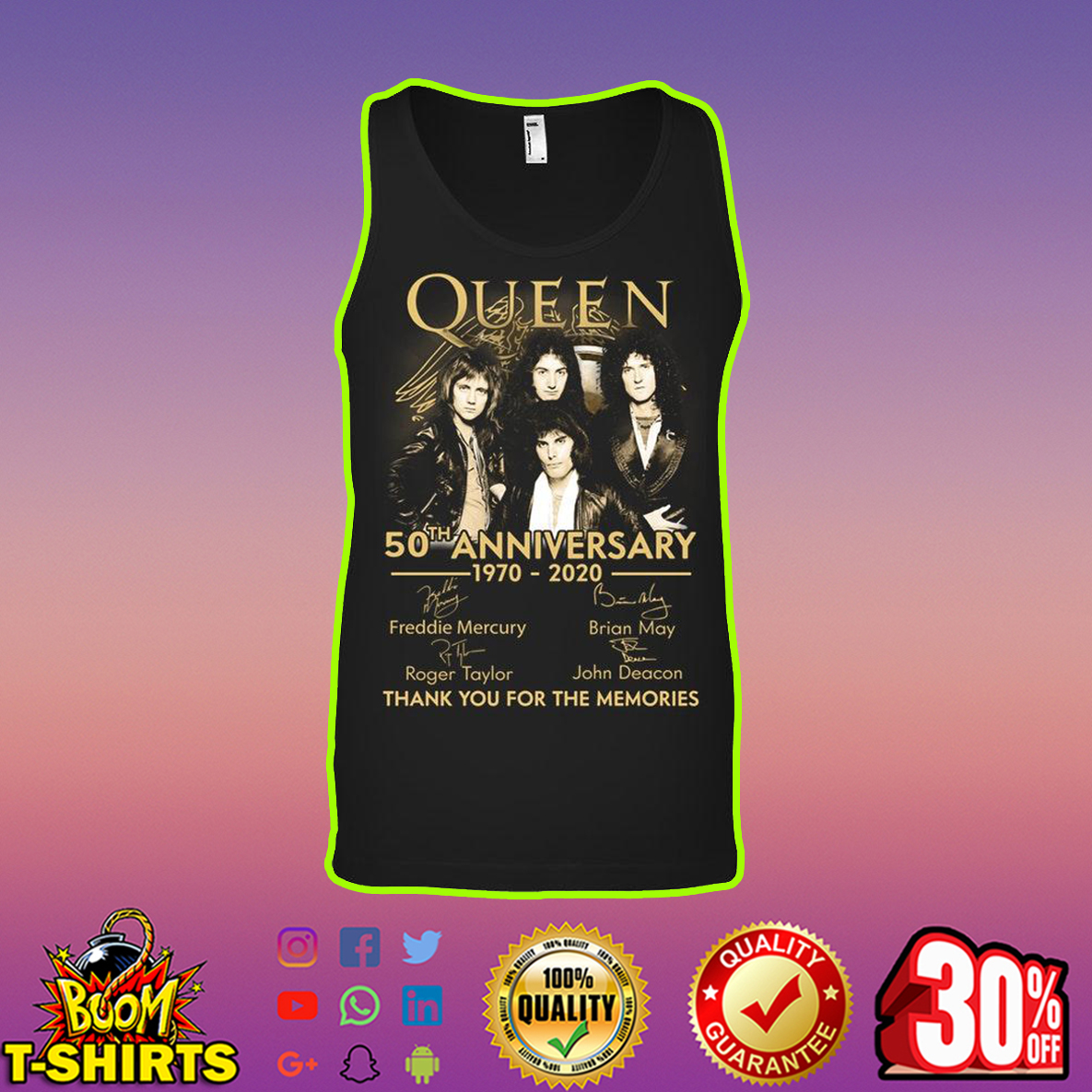 Queen 50th Anniversary 1970 2020 Thank You For The Memories tank top