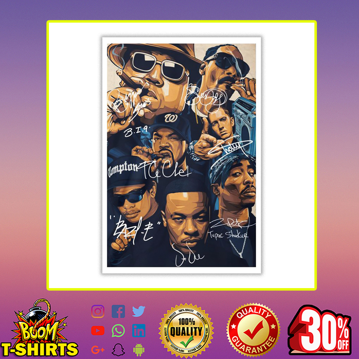 Rap Legends Notorious BIG Snoop Dogg Ice Cube Eminem Tupac Signature Poster