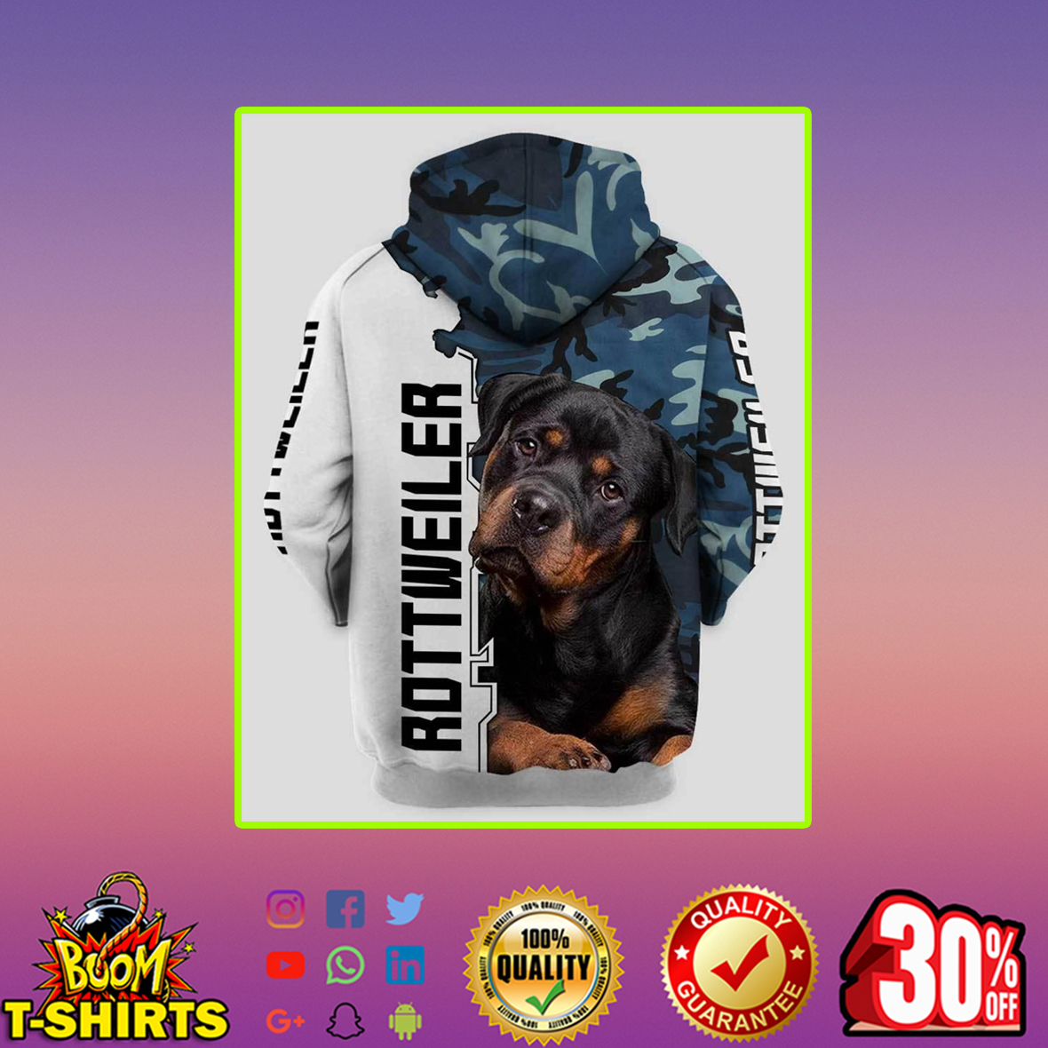 Rottweiler 3d hoodie- back