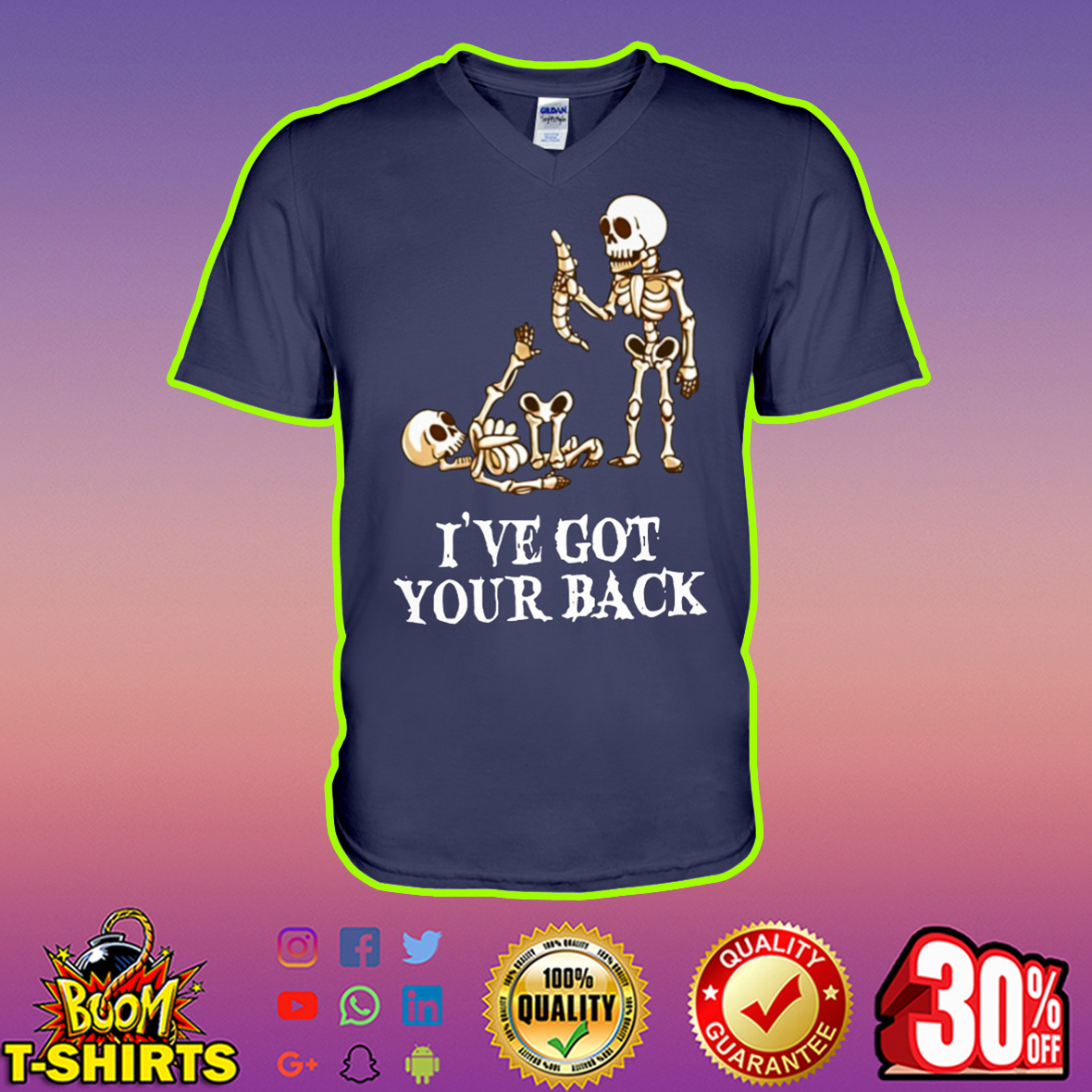 Skeleton I've got your back v-neck