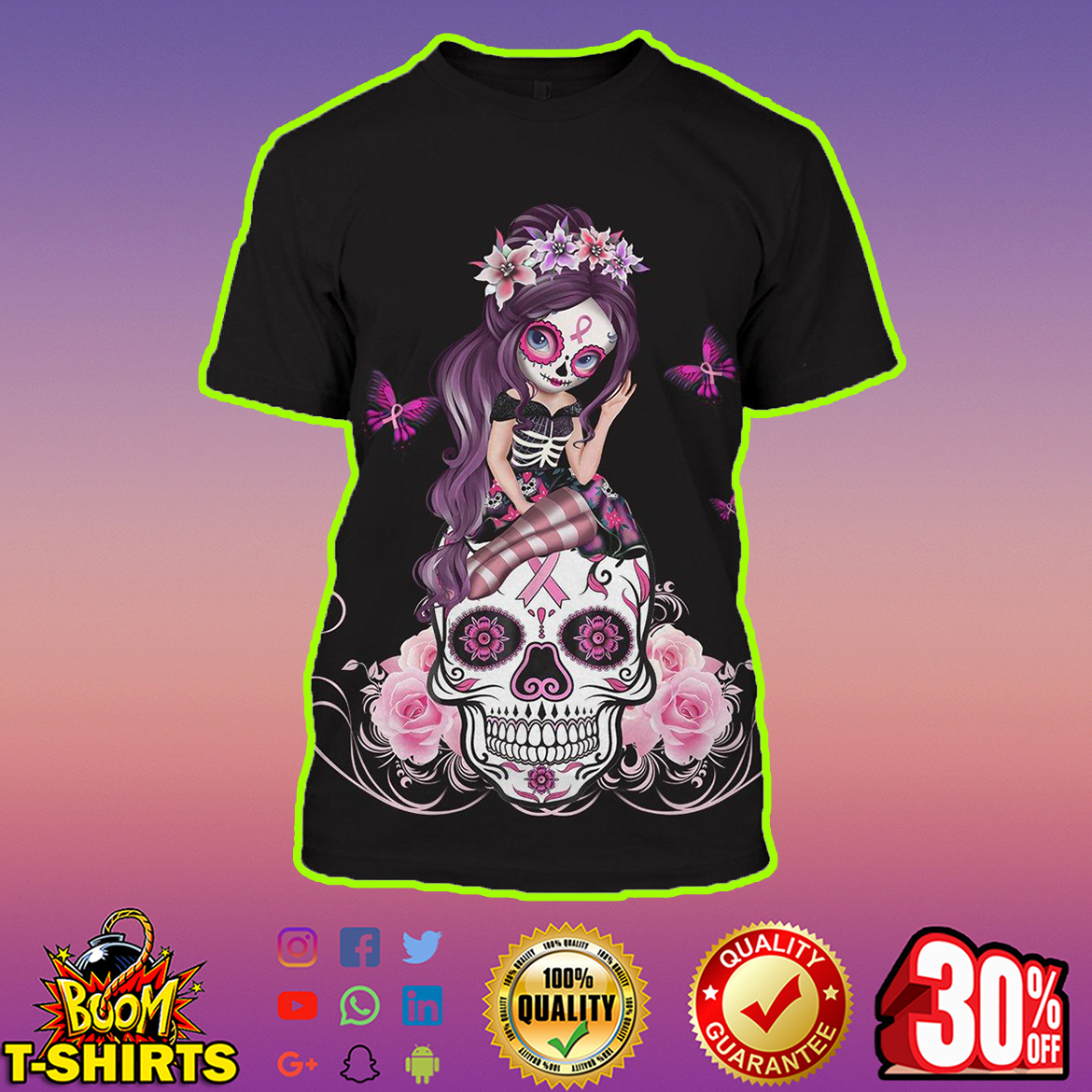 Skull Fairy Breast Cancer Awarenes Fight Like A Girl 3D T-shirt