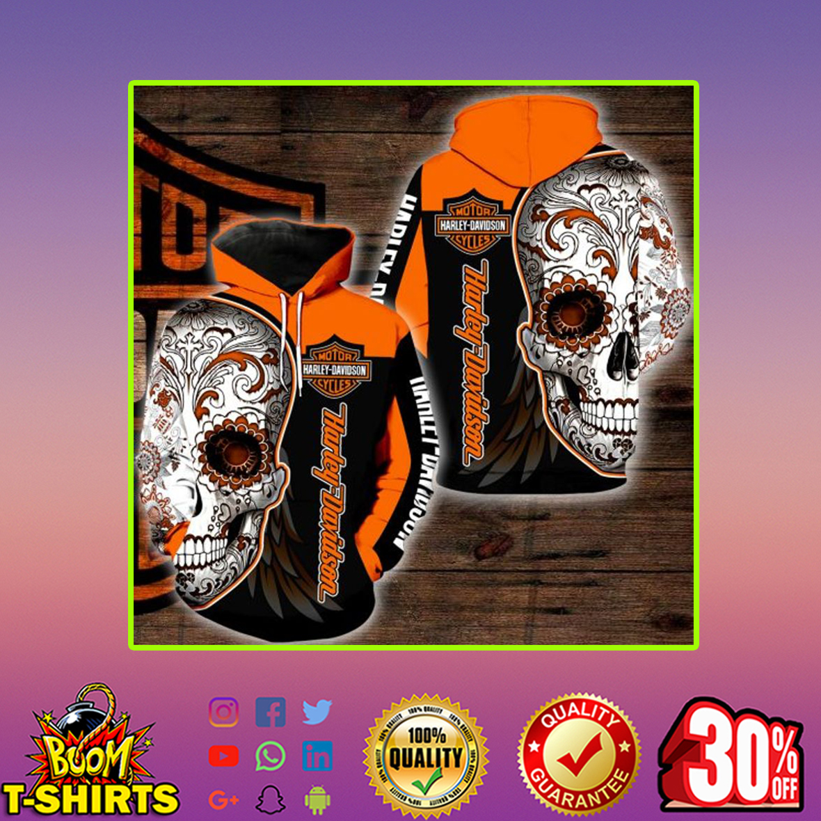 Sugar Skull Harley Davidson All Over Print 3d Hoodie