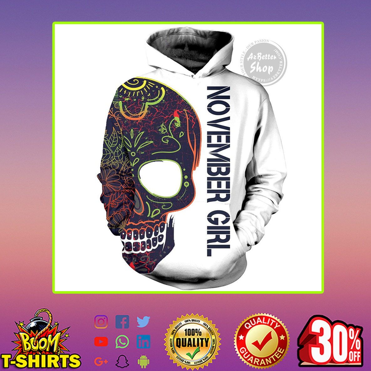 Sugar Skull November Girl With Tattoos Pretty Eyes And Thick Thighs 3D Hoodie