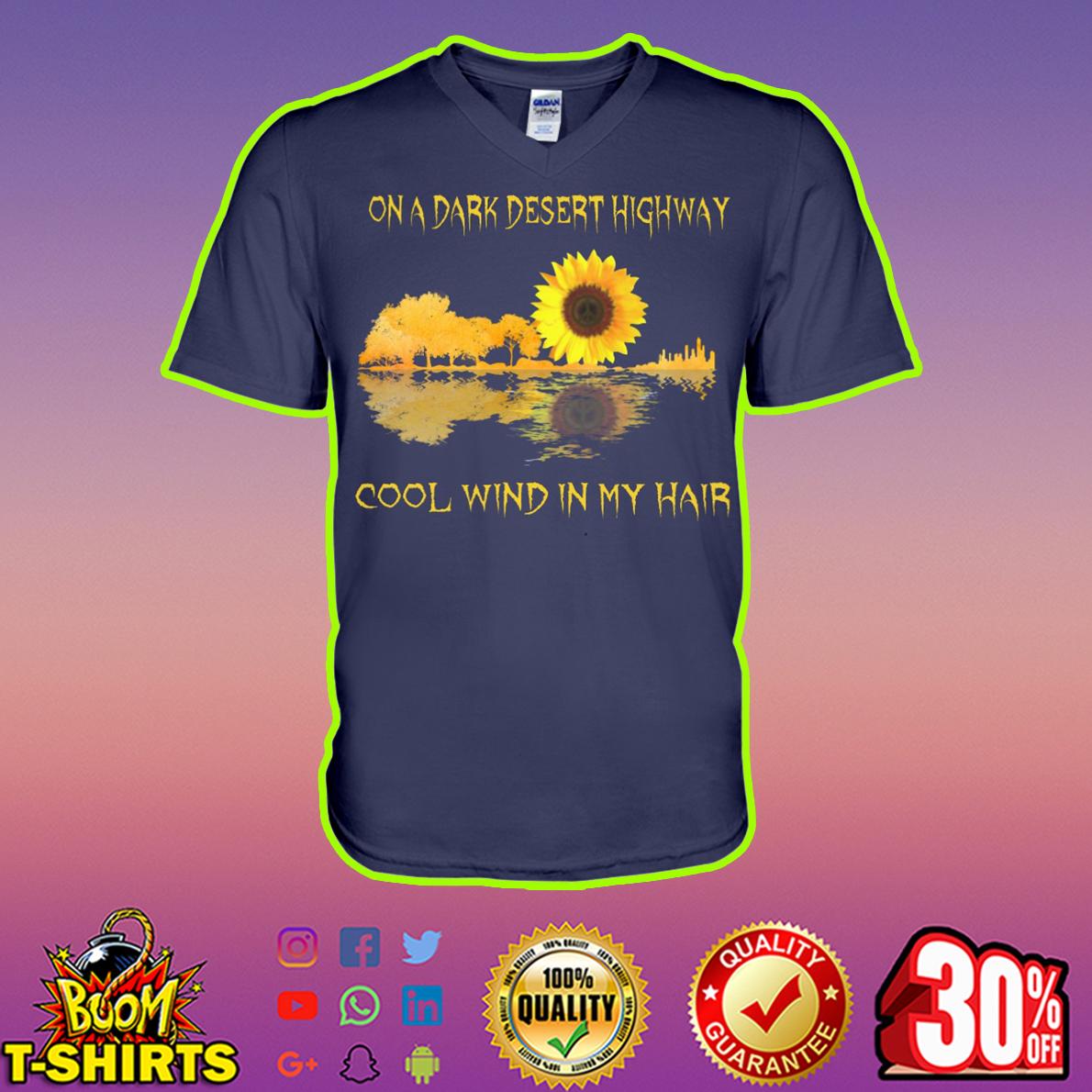 Sunflower guitar reflection On a dark desert highway cool wind in my hair v-neck