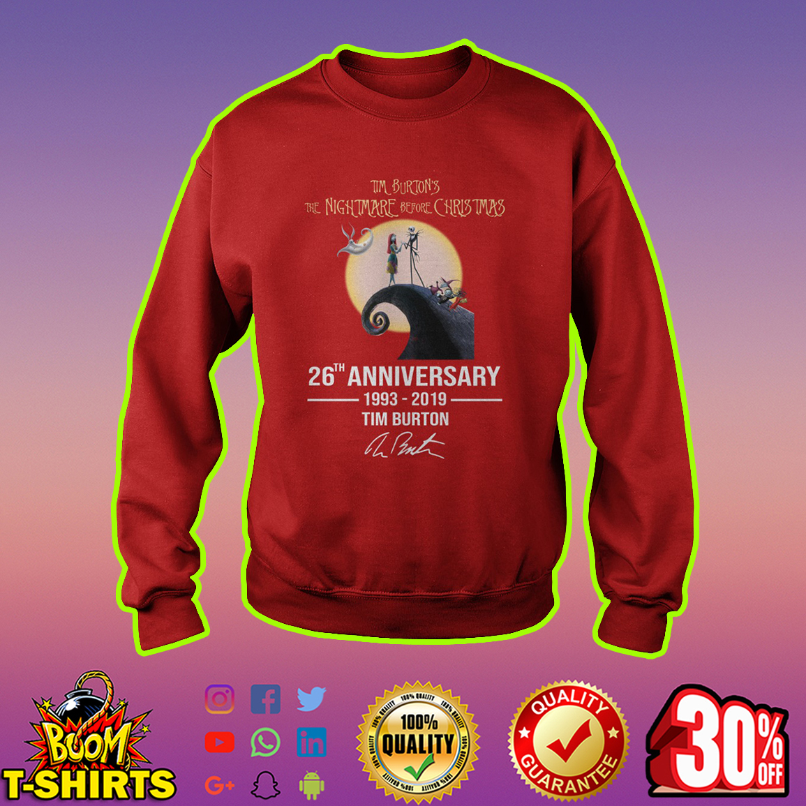 The Nightmare before Christmas 26th anniversary 1993 2019 Tim Burton sweatshirt