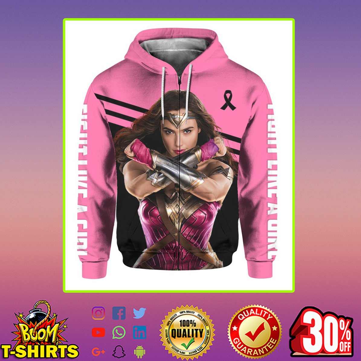 Wonder Woman Breast Cancer 3d zip hoodie