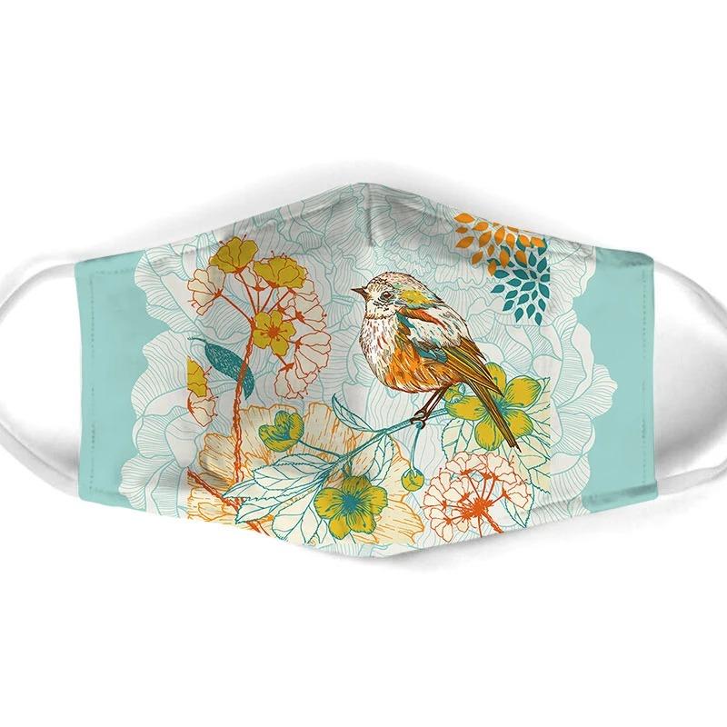Bird flower all over prints face mask