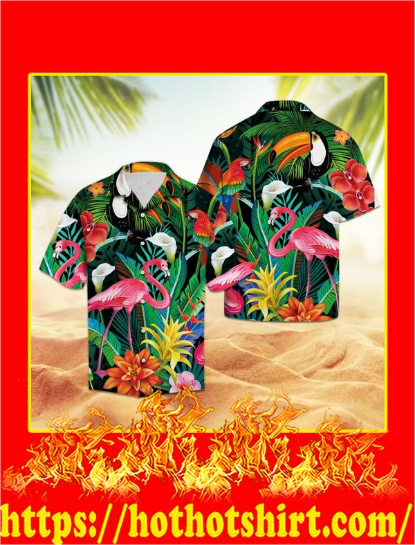 Tropical bird flamingo hawaii shirt
