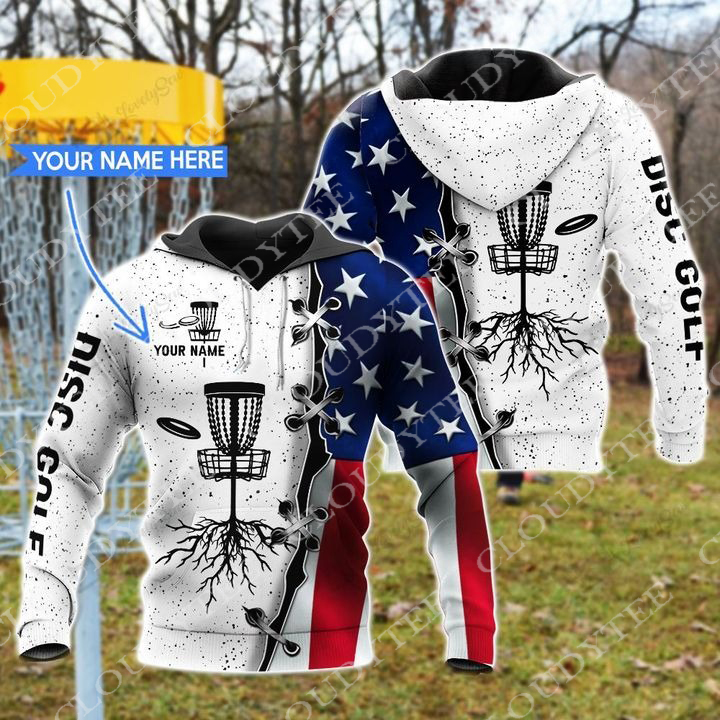 Personalized custom name Disc Golf American Flag 3d hoodie
