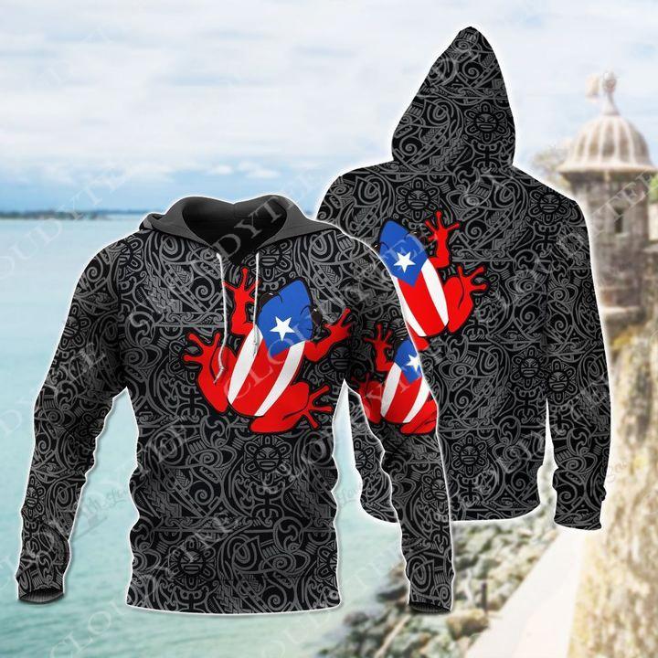 Puerto Rico Frog Hug Boricua 3d hoodie