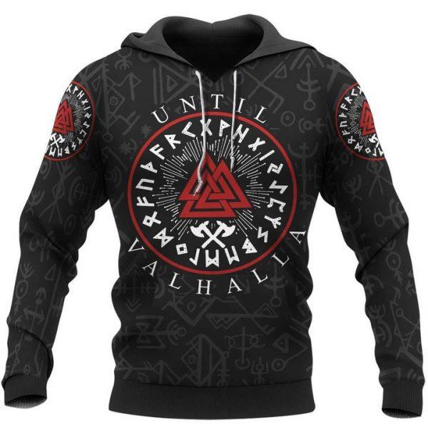 Viking until valhalla pattern 3D all over printed hoodie