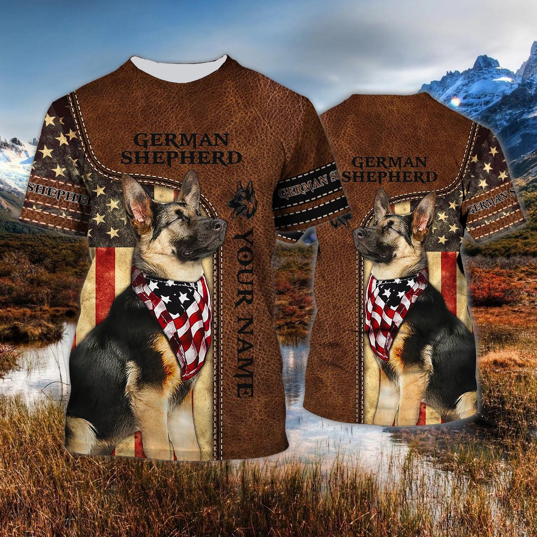 Native American German Shepherd Custom Name 3D T-Shirt
