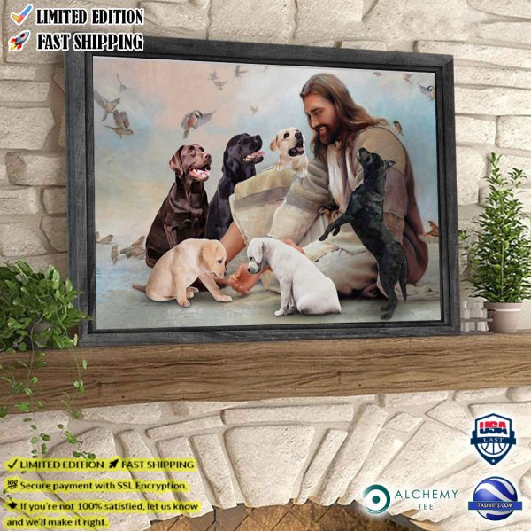 God surrounded by Labrador angels poster