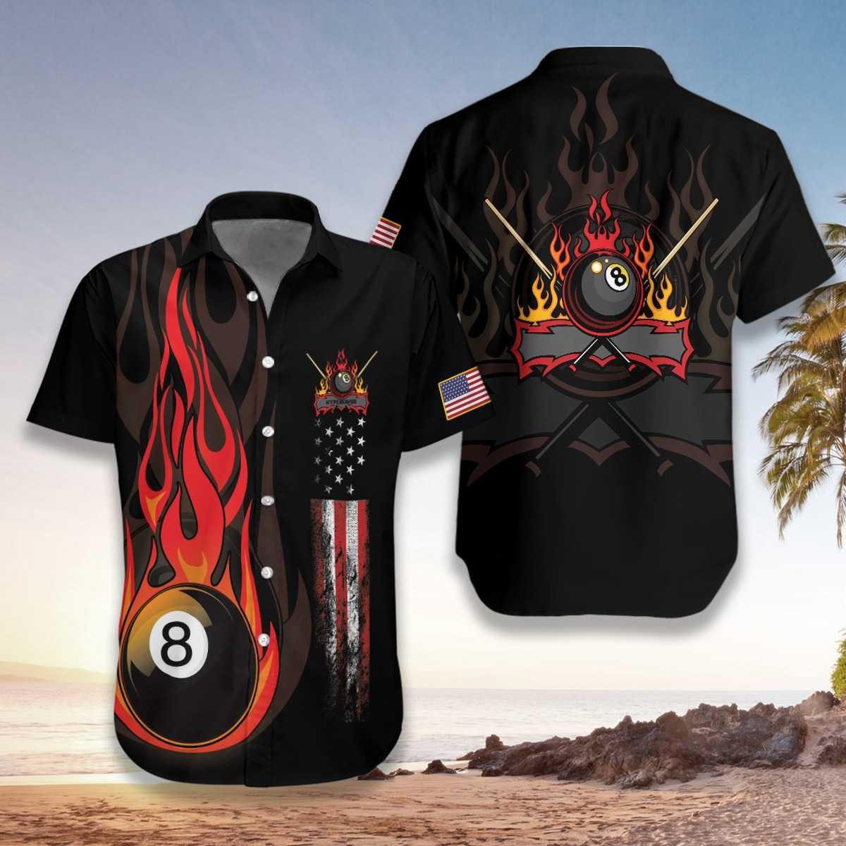 Flame 8 Ball Billiard Pool Hawaiian Shirt
