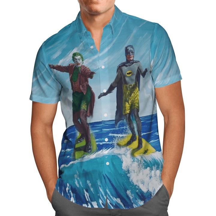Batman Joker Surfing Short Sleeve Hawaiian Shirt