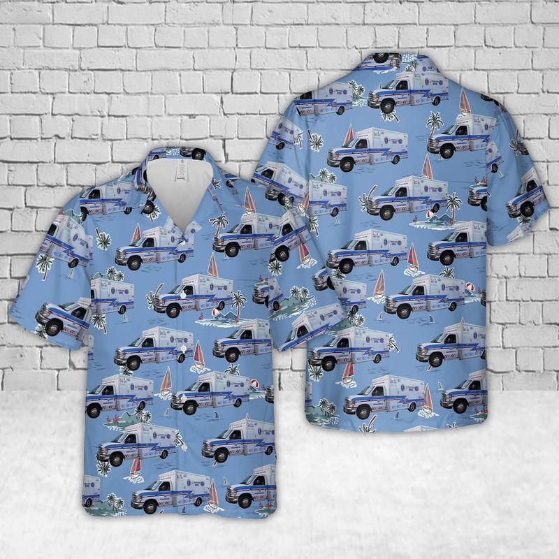 Kansas Sedgwick County EMS Hawaiian Shirt Beach Short