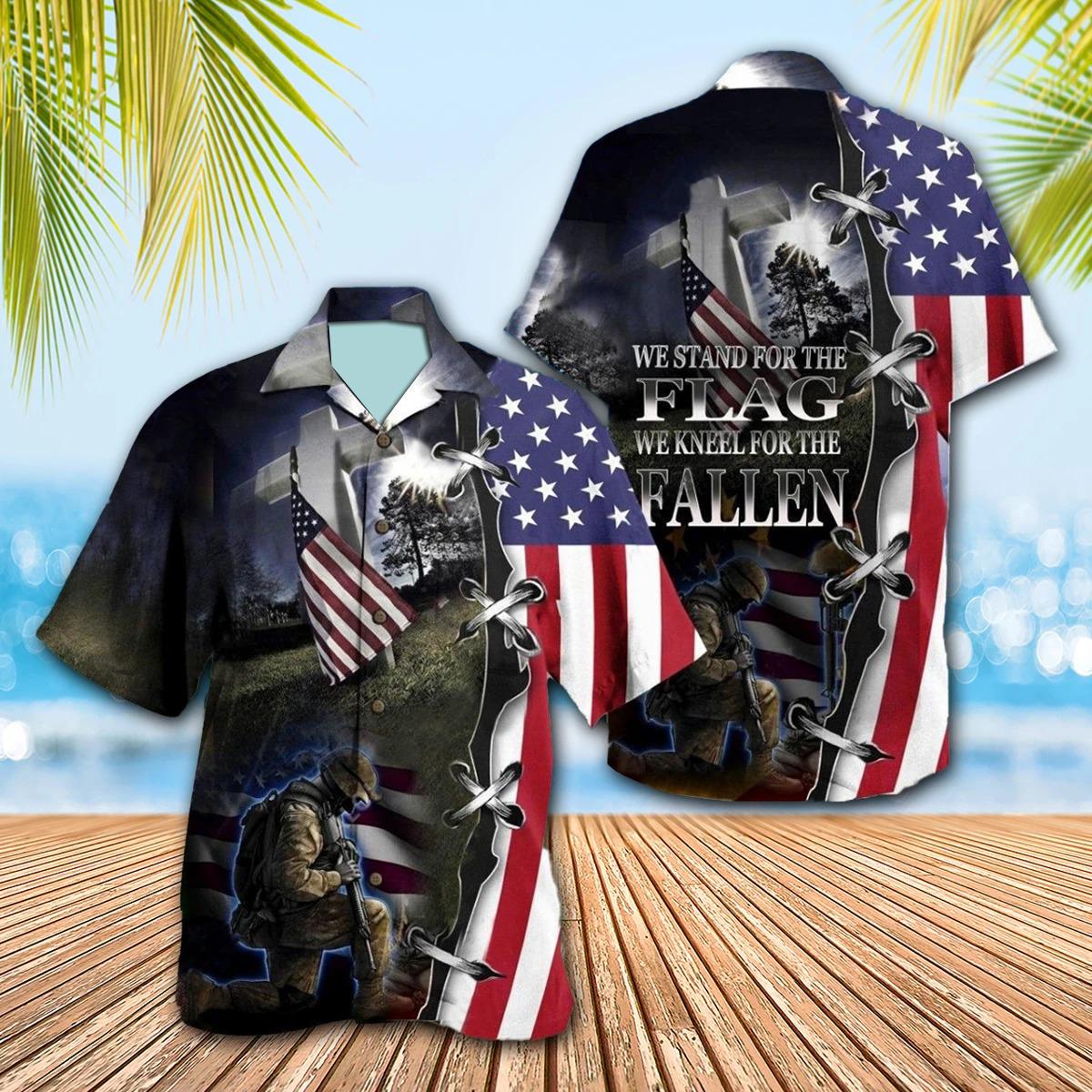 Veteran We Stand For The Flag Kneel For The Fallen Hawaiian Shirt
