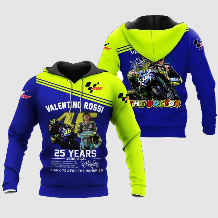 Valentino Rossi The Doctor 25 years 3D Pullover Hoodie