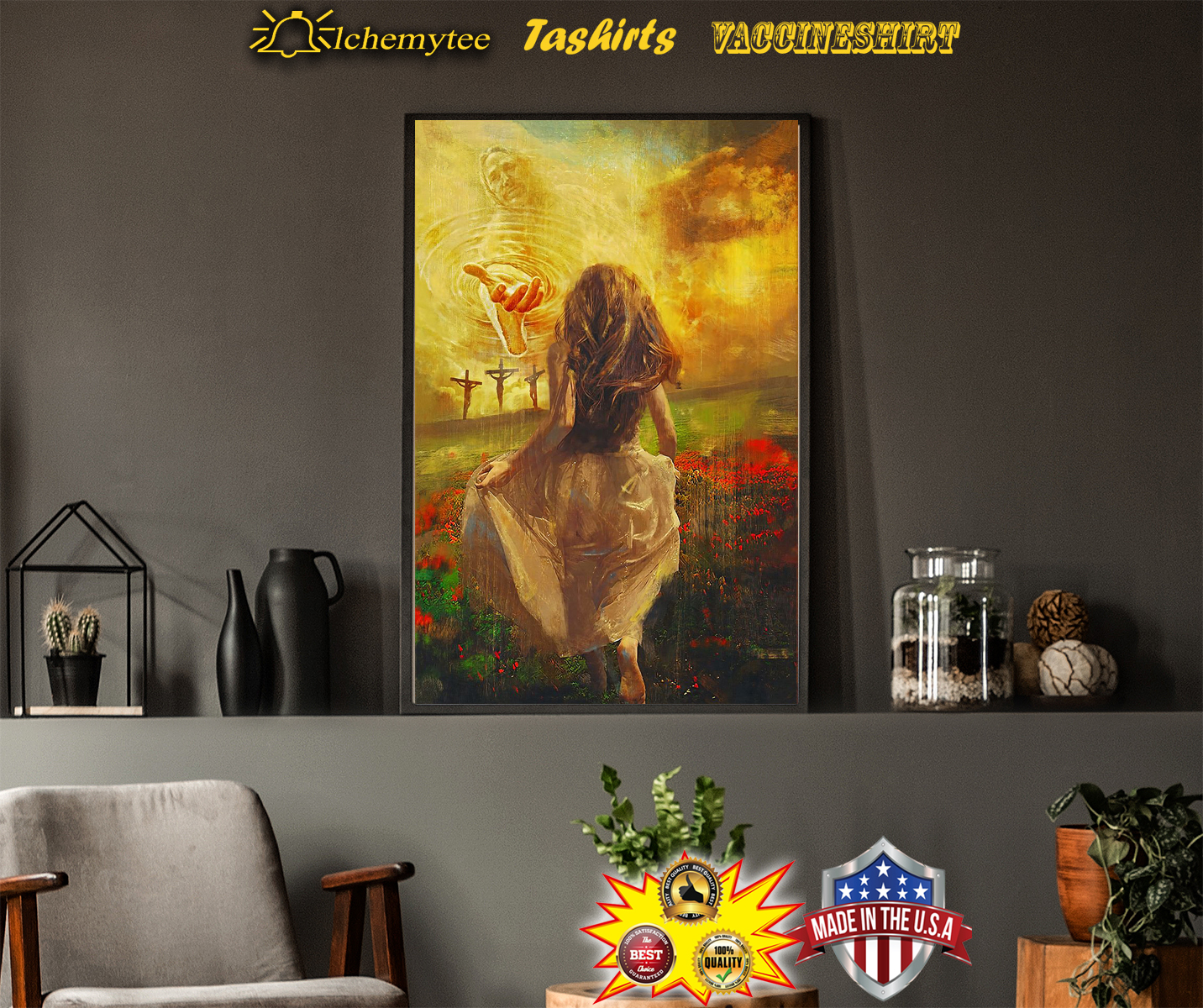 Jesus with girl run to the beautiful world poster