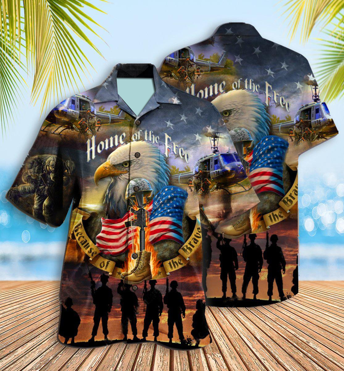 Veteran Home Of The Free Because Of The Brave Hawaiian Shirt