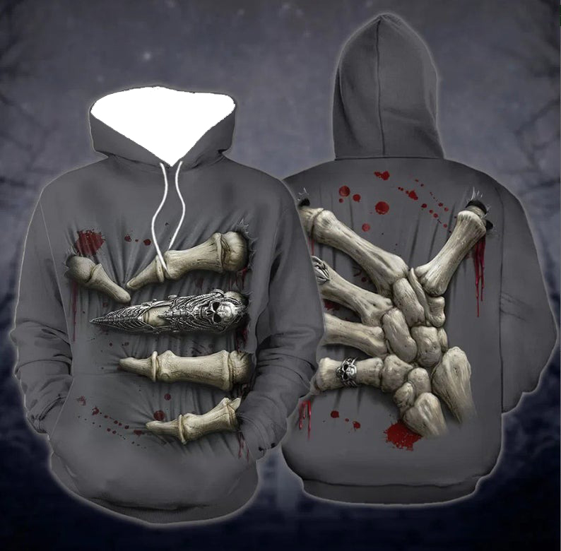Couple Skull hand 3d all over print hoodie