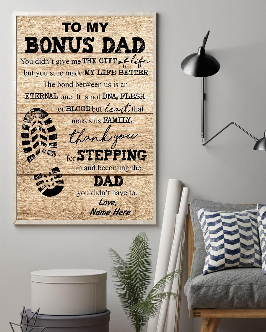 To my bonus dad you made my life better custom name poster