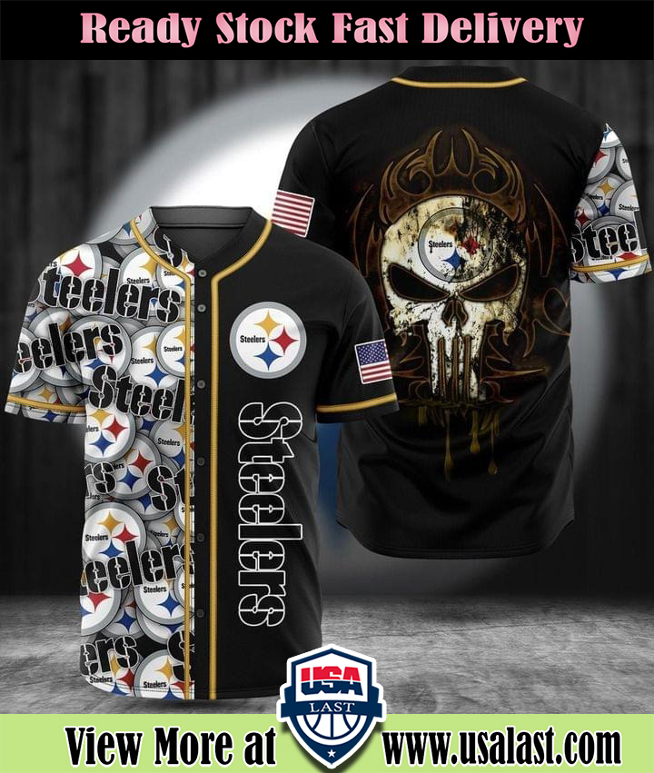 Punisher Skull Pittburgh Steelers Baseball Jersey Shirt