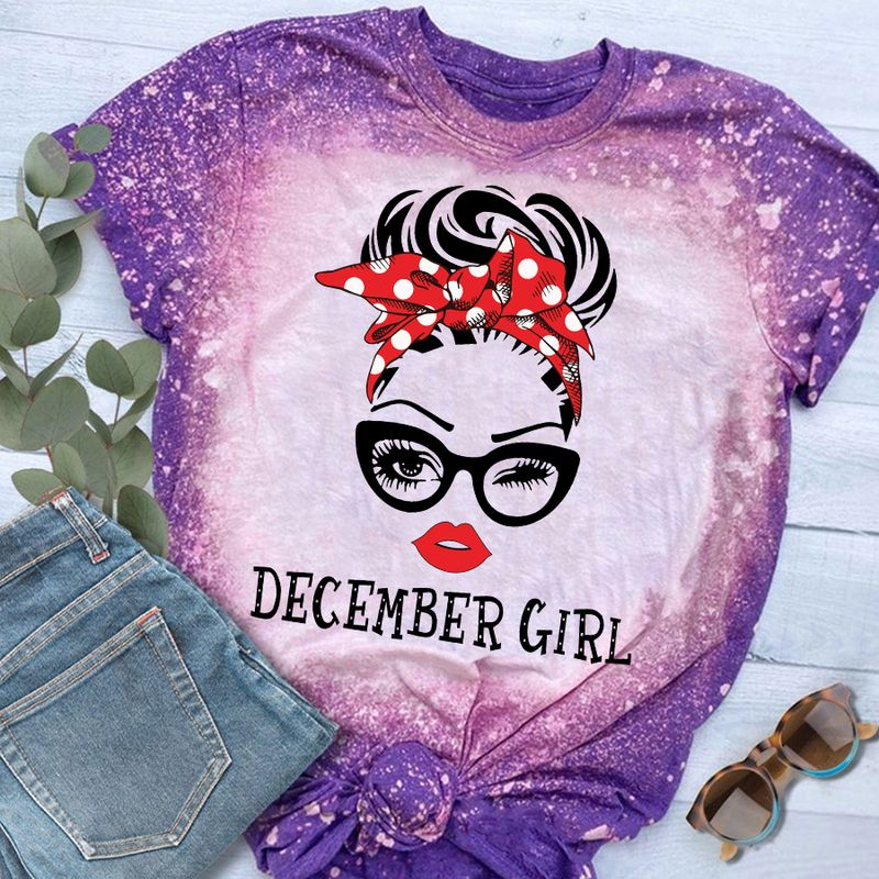December Girl Faces Wink Eyes Bleached Shirt