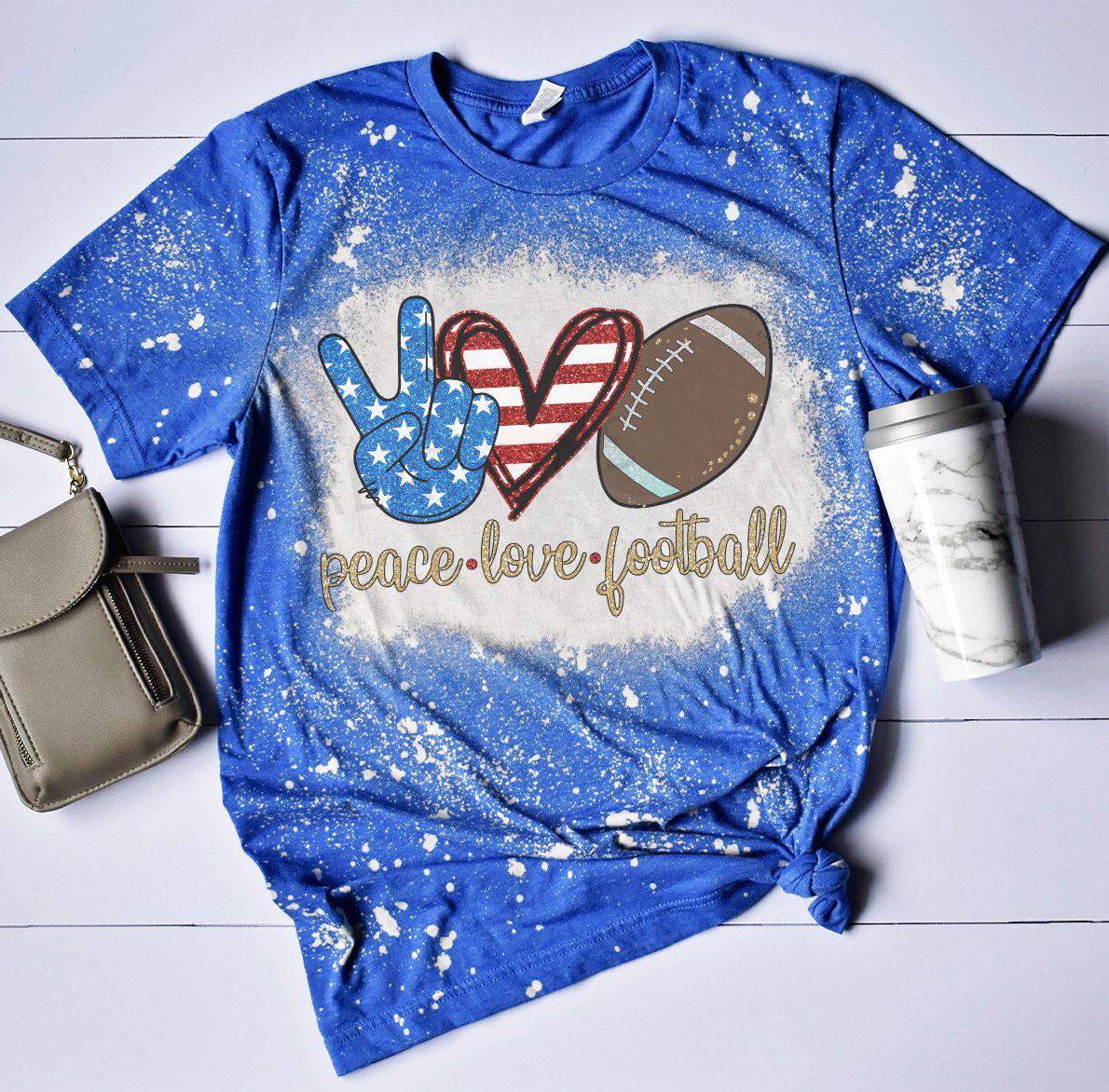 Peace Love American Football Bleach Shirt