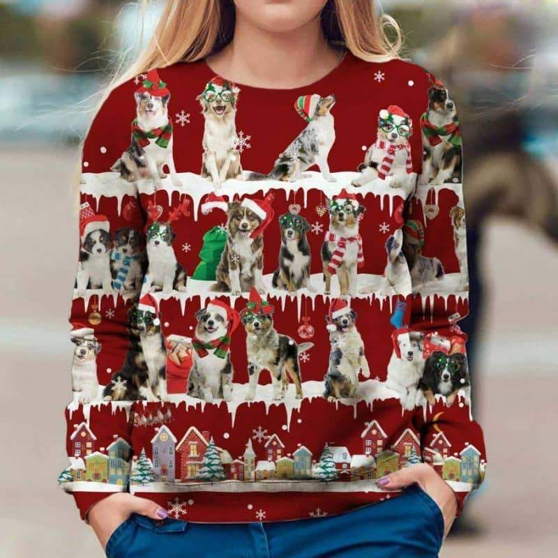Australian Shepherd Snow Christmas 3D Ugly Sweater-1