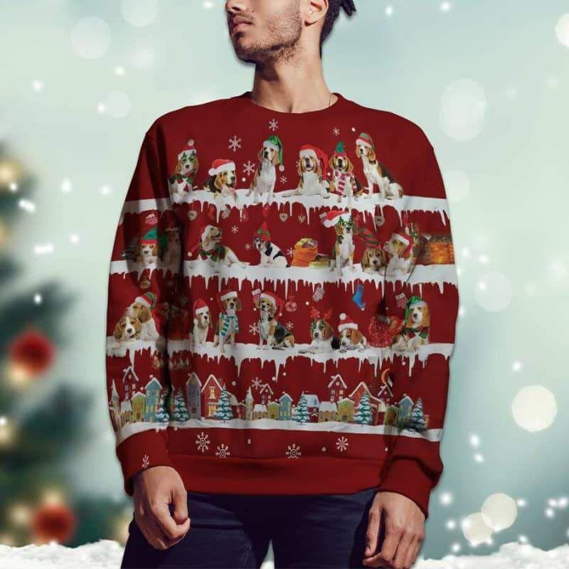 Beagle Snow Christmas 3D Ugly Sweater-2