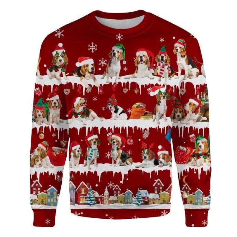 Beagle Snow Christmas 3D Ugly Sweater