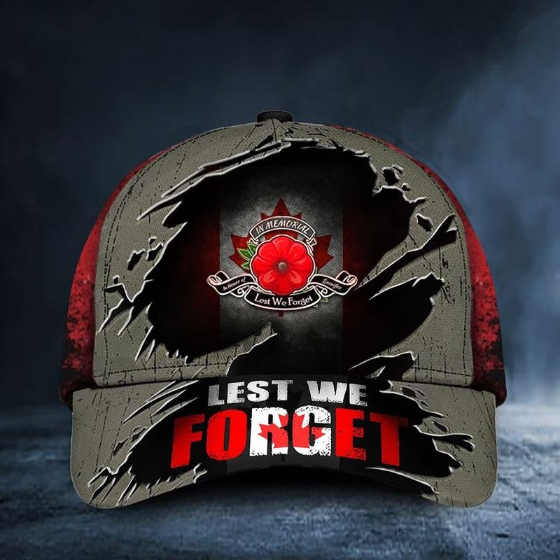 Canada Flag Lest We Forget Poppy Remembrance Day Hat Cap