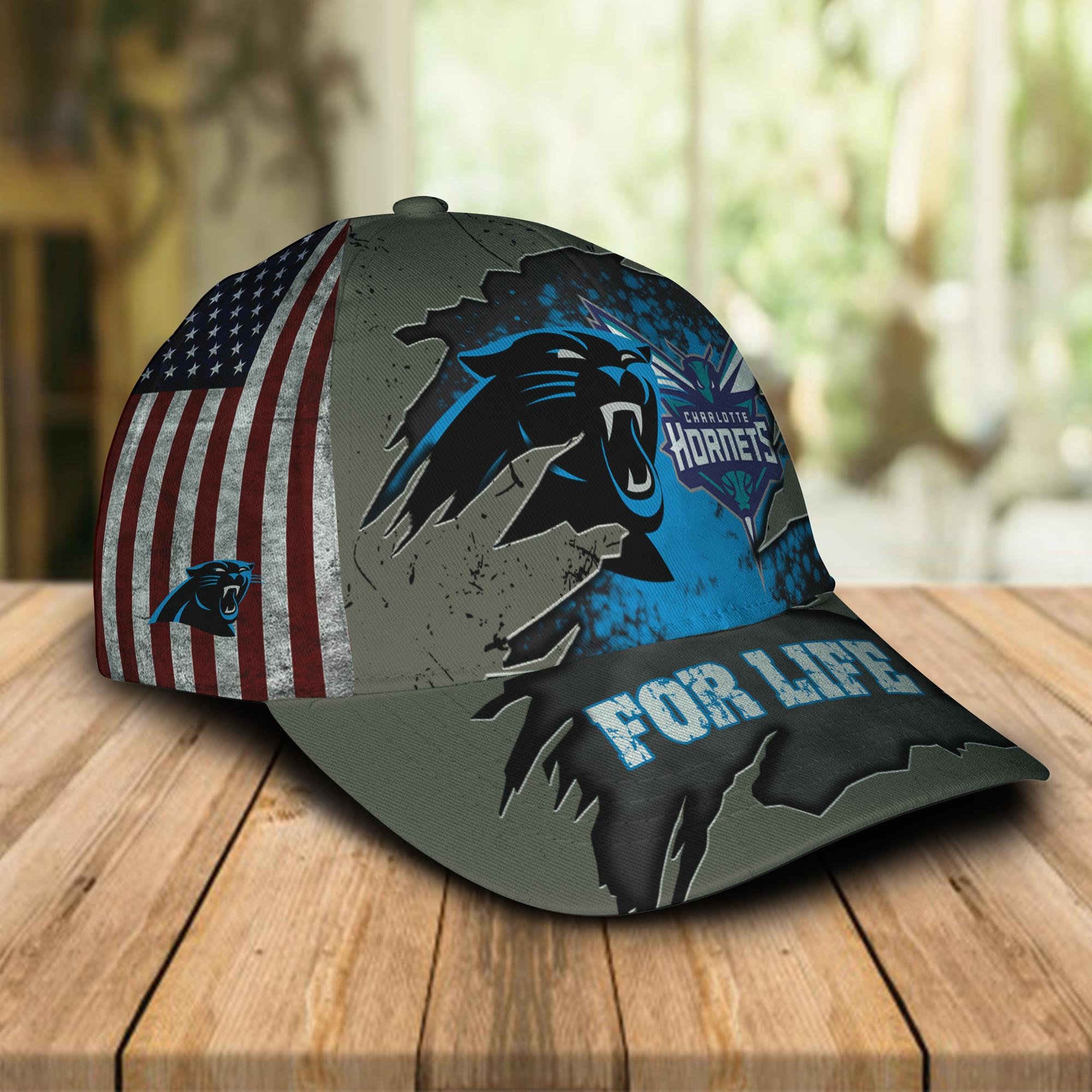 Carolina Panthers Charlotte Hornets For Life Cap Hat-1