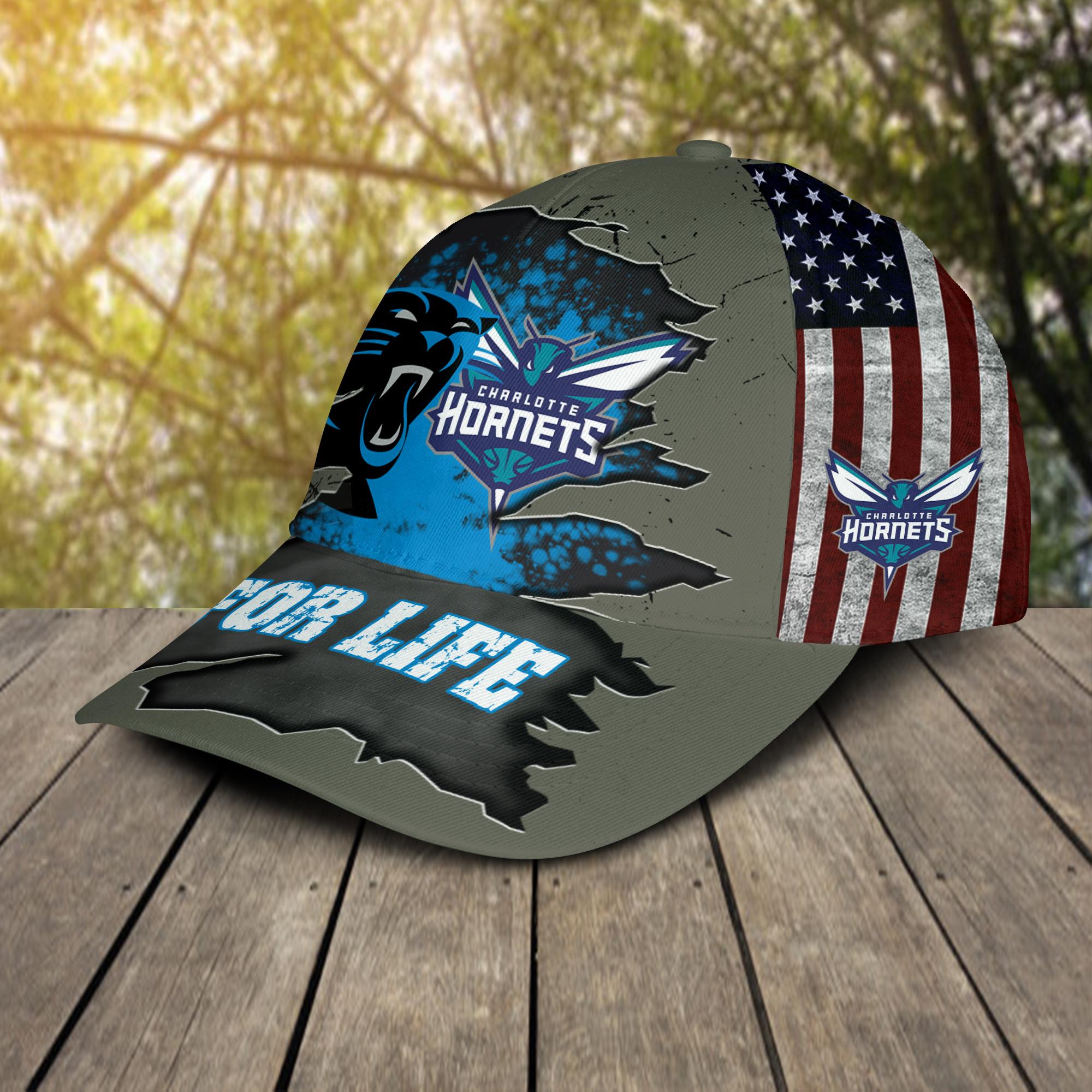 Carolina Panthers Charlotte Hornets For Life Cap Hat-2