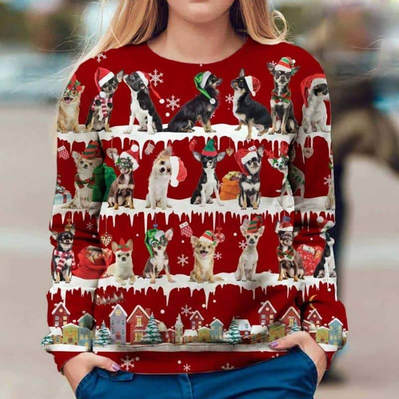 Chihuahua Snow Christmas 3D Ugly Sweater-1