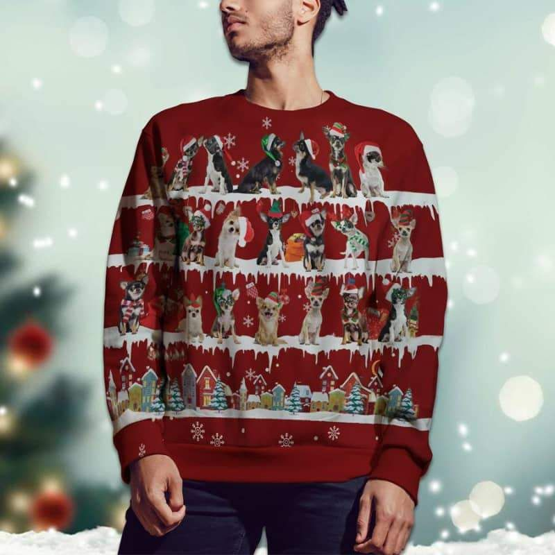 Chihuahua Snow Christmas 3D Ugly Sweater-2