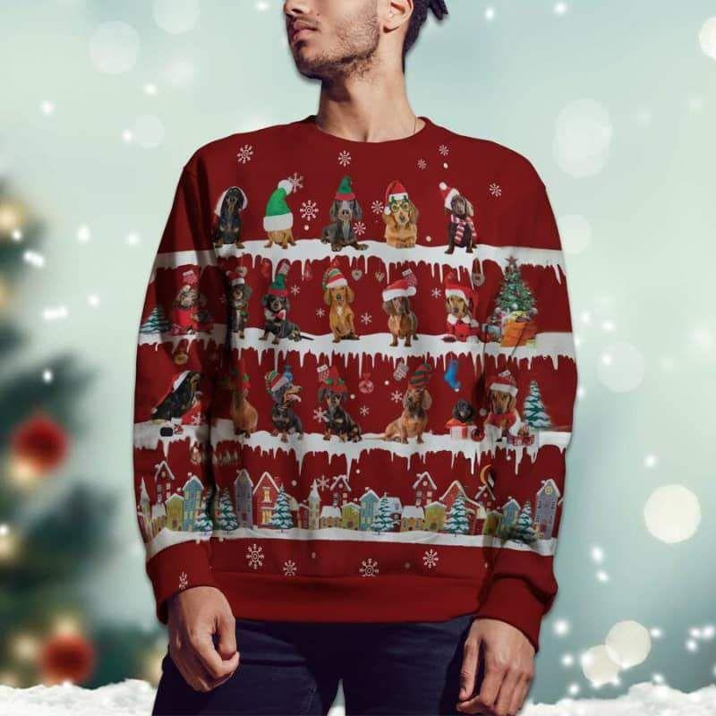 Dachshund Snow Christmas 3D Sweater For Dachshund Lover-2