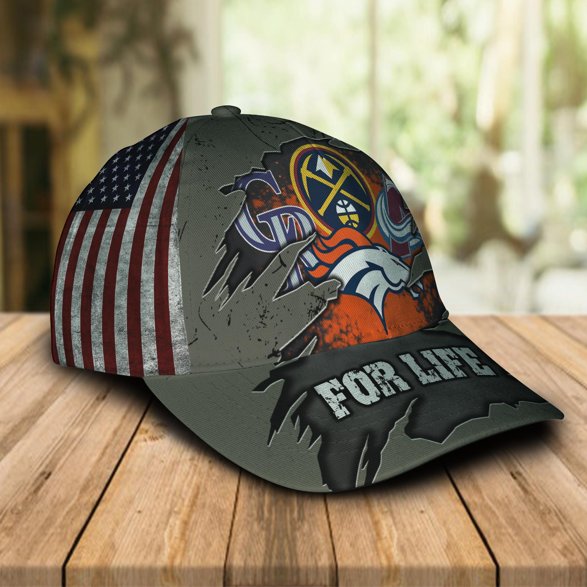 Denver Broncos Denver Nuggets Colorado Rockies Colorado Avalanche For Life Cap Hat -1