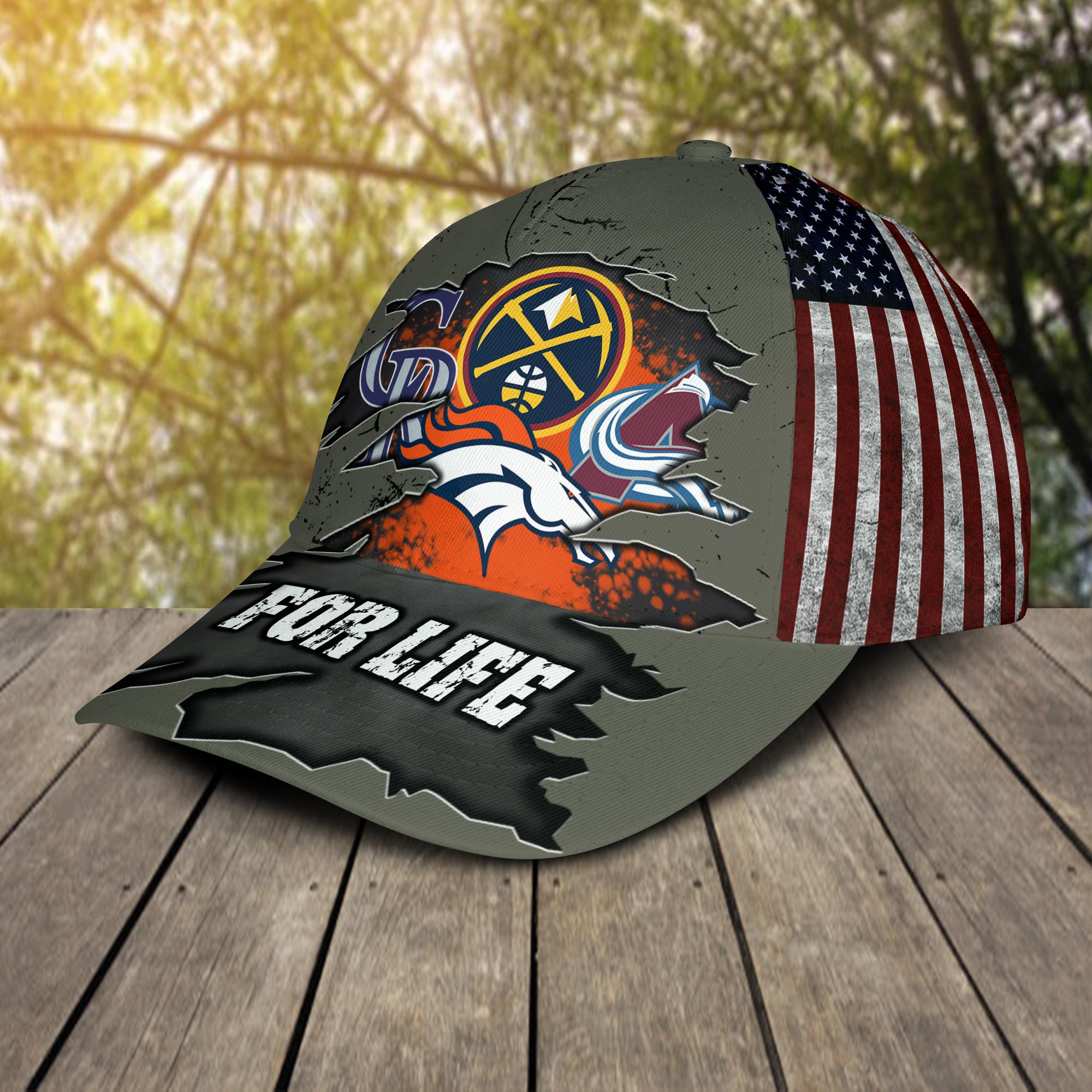 Denver Broncos Denver Nuggets Colorado Rockies Colorado Avalanche For Life Cap Hat -2