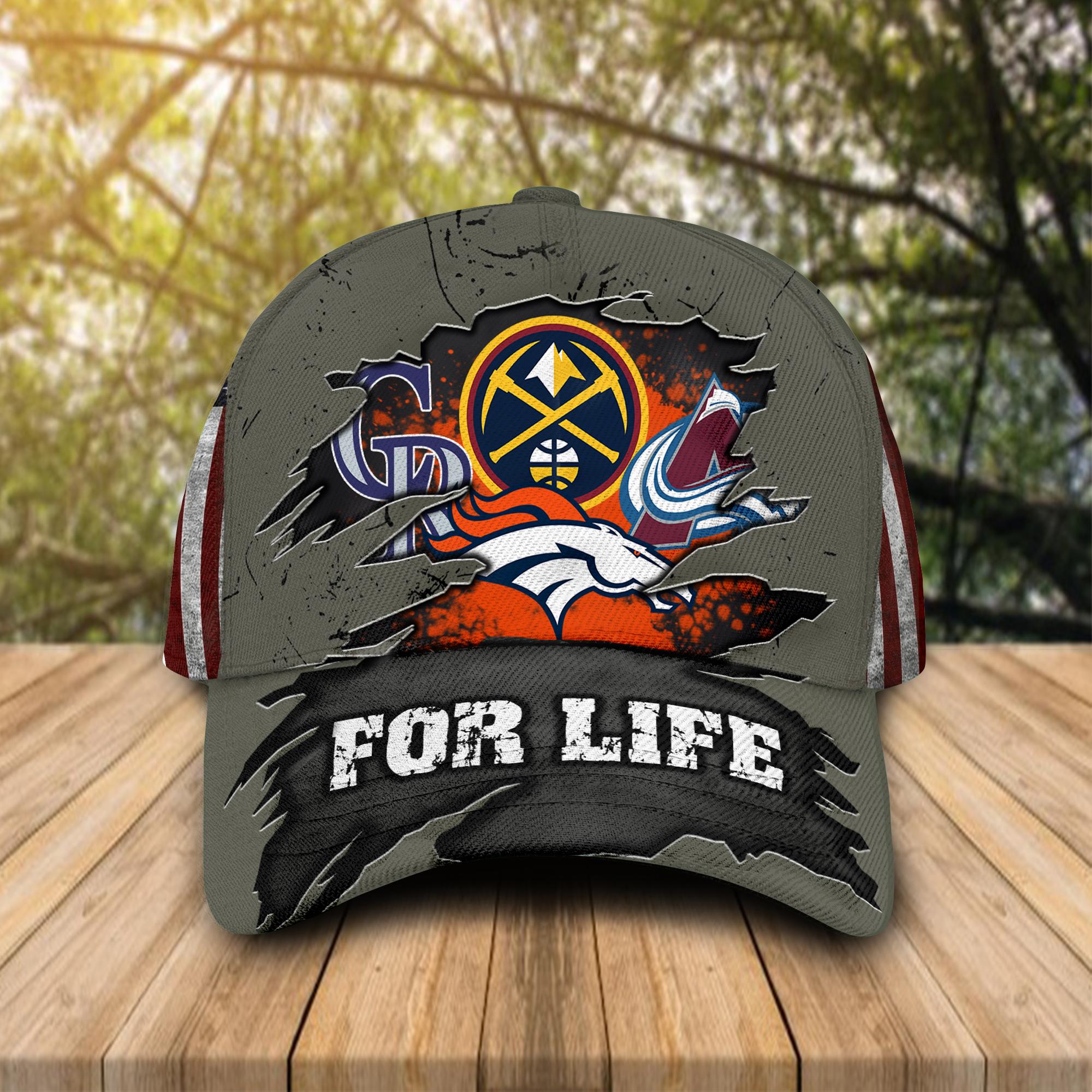 Denver Broncos Denver Nuggets Colorado Rockies Colorado Avalanche For Life Cap Hat