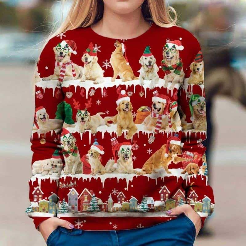Golden Retriever Snow Christmas 3D Ugly Sweater-1